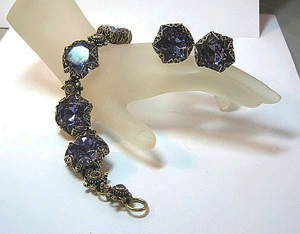 Ooh La La! Passion Purple Demi Parure Bracelet and Earrings with Large Stones