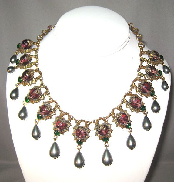 Truly Glamorous Necklace with Amethyst Colored Beads and Gray Simulated Pearls****