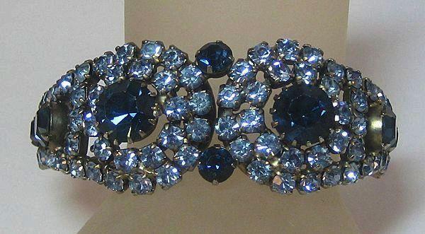 Blue Rhinestone Clamper Bracelet