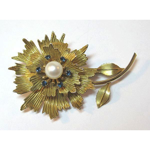 Krementz Lovely Flower Pin with Cultured Pearl