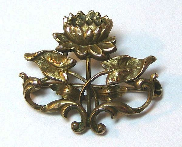 Petite Art Nouveau Water Lily Pin Brooch