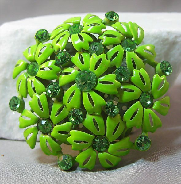 Vibrant Green Enamel and Rhinestone Pin