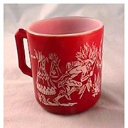 Hazel Atlas Indian Mug - Burgundy Color