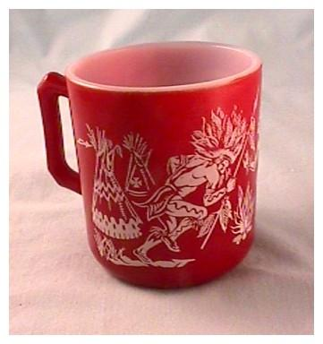 Hazel Atlas Indian Mug - Burgundy Color