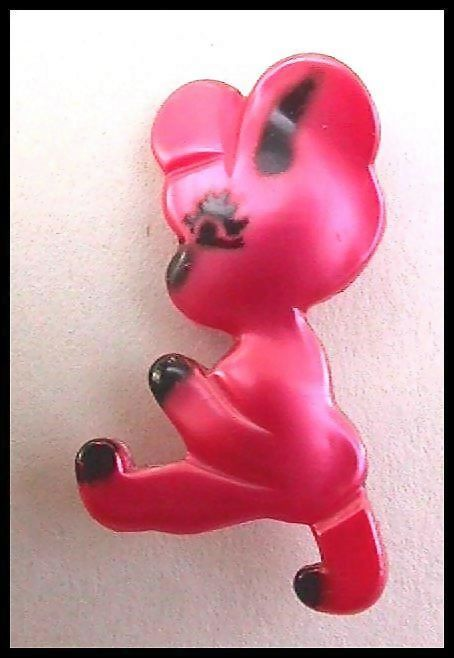 Delightful Hot Pink Plastic Bear Child's Pin