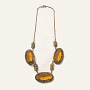 Gorgeous Vintage Amber Colored Glass Necklace