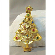 Christmas Tree Pin Colorful Rhinestones Gold-tone