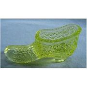 Degenhart Mini Slipper in Vaseline Glass