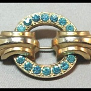 Bar Pin with Turquoise Rhinestones