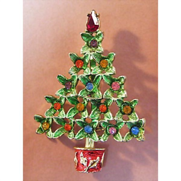 B.J. Beatrix Jewels Christmas Tree Pin with Enamel and Rhinestones