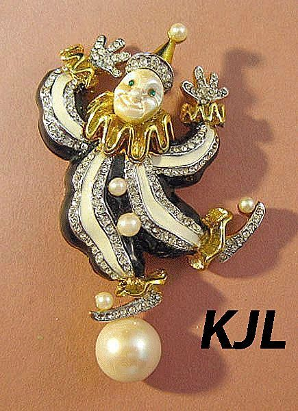 Whimsical and Elegant Kenneth J. Lane Clown Pin with Simulated Pearls, Rhinestones and Enamel