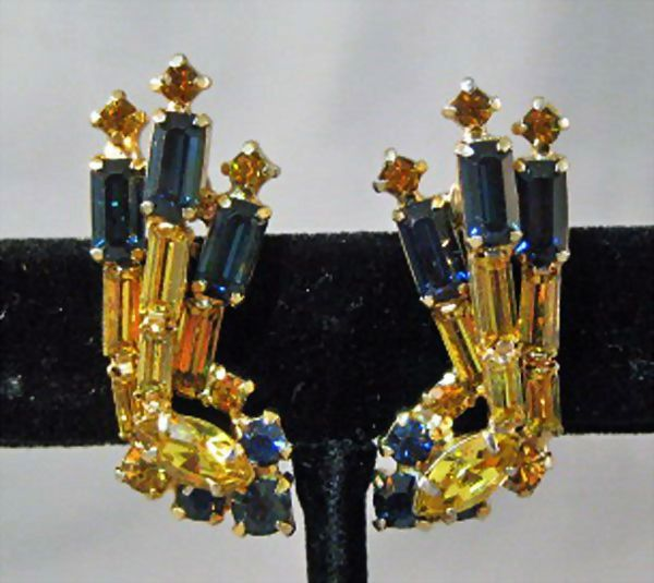 Juliana Cobalt and Gold Colored Rhinestone Earrings