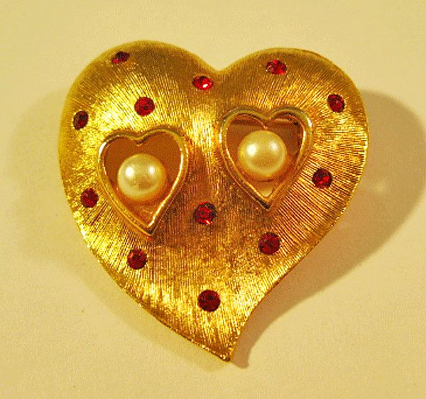 Heart Pin Brooch by J.J. with Red Rhinestones and Simulated Pearls
