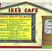 Ike's Cafe Humorous Political Postcard