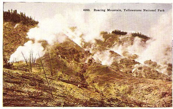 Yellowstone National Park Postcard - Roaring Mountain