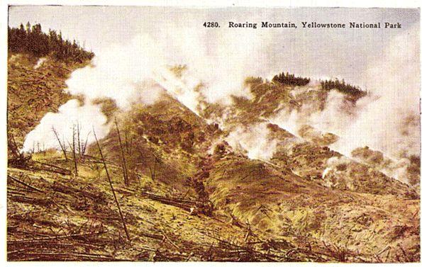 Yellowstone National Park Postcard - Roaring Mountain