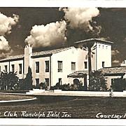 Real Photo Postcard of Officers Club, Randolph Field, Texas