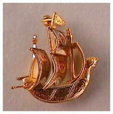 Petite Vintage Sailing Ship Pin Brooch signed Spain