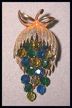 Striking Pin Brooch with Dangling Blue Aurora Borealis Crystals