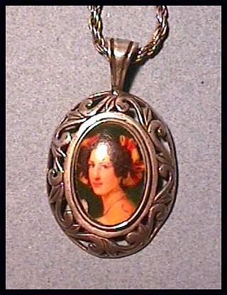 Necklace with Elegant Lady Porcelain Portrait in Sterling