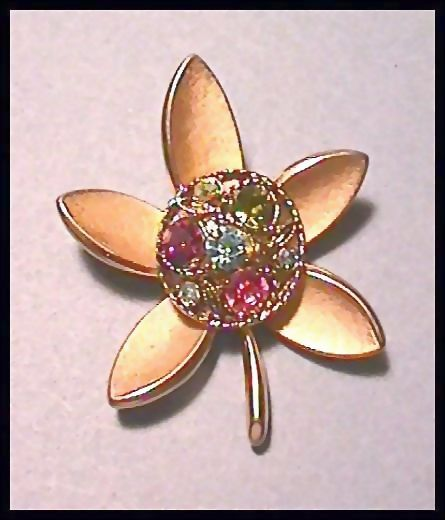 Trifari Flower Pin with Colored Rhinestones