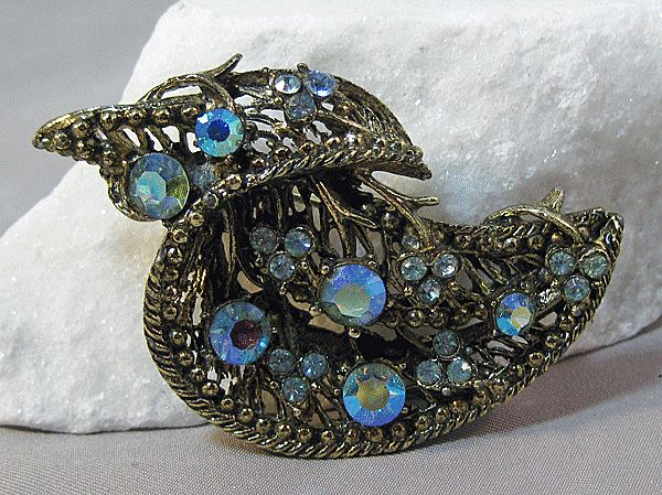 Lovely Flowing Pin with Light Blue Aurora Borealis Rhinestones