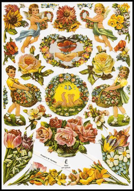 Vintage Die Cuts of Children, Cherubs, and Flowers