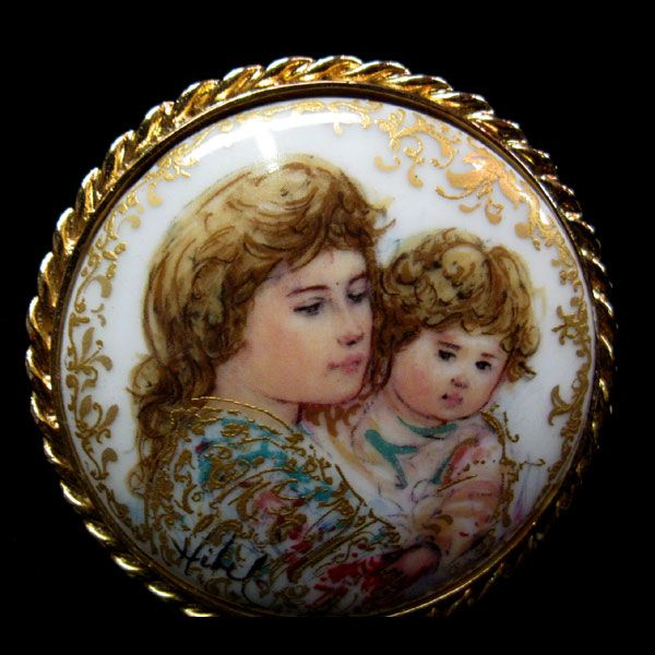 Hibel Hand Painted Porcelain Brooch Limited Edition