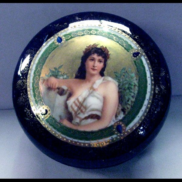 A Fabulous Antique Royal Vienna Hand Painted Portrait Porcelain Trinket /Jewelry Box Beehive Mark