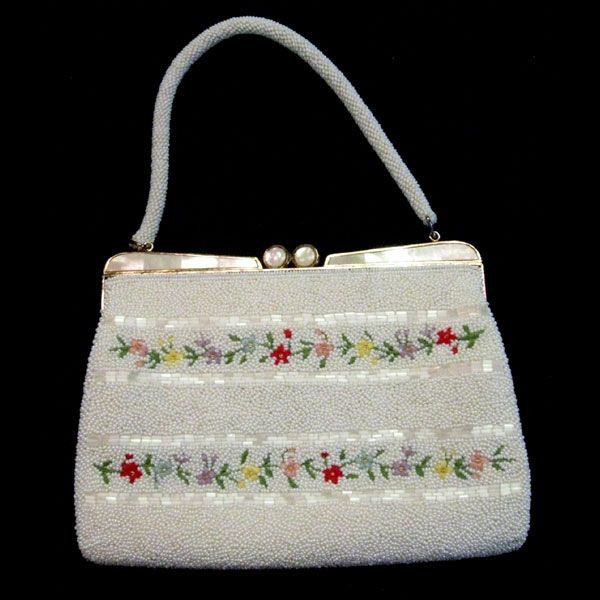 Vintage Beaded, Embroidered and Mother of Pearl Purse
