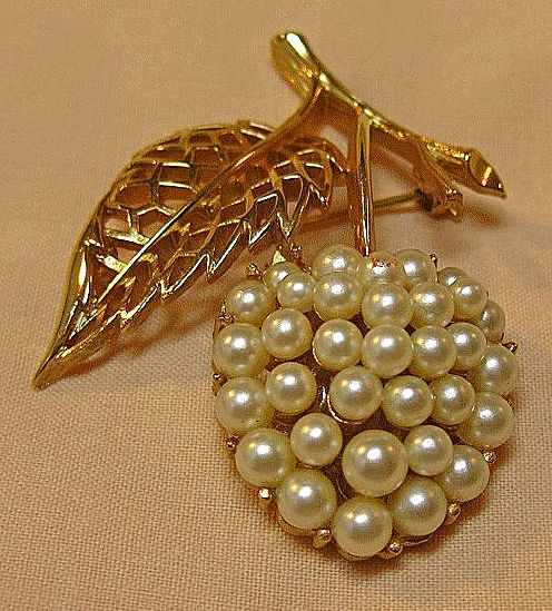 Trifari Simulated Pearl Cherry Pin