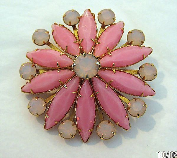 Pink Pin Brooch with Elongated Pink Milk Glass Navettes