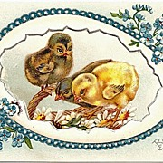 Heavily Embossed Easter Postcard - Chicks and Egg