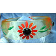 Lucite Bracelet with Hand Painted Flowers