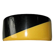 Black and Cream Corn and Black Two Tone Wide Bakelite Art Deco Bangle Bracelet
