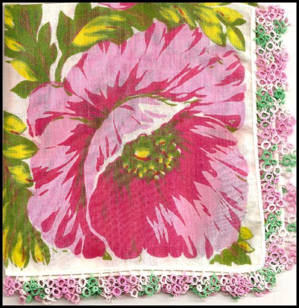 Pretty Flower Hankie with Tatted Edge