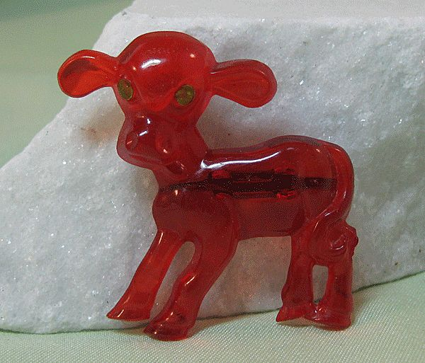 Adorable Red Early Plastic Calf Pin