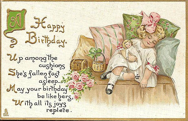 Tuck Happy Birthday Postcard with Sweet Little Girl and Her Doll – Happy Birthday Card for Little Girl