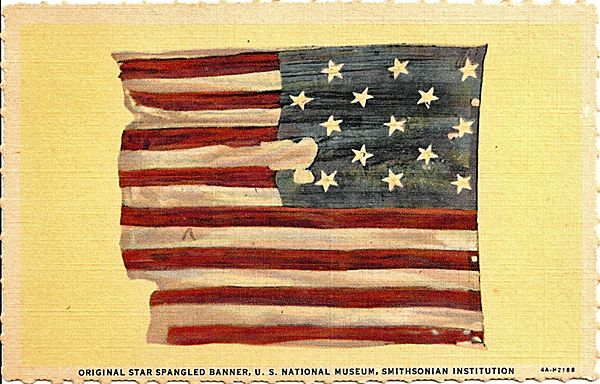 Postcard Depicting the Original Star Spangled Banner, U.S. National Museum, Smithsonian Institution