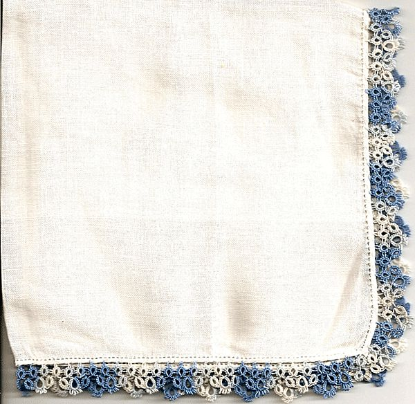 Linen Hankie with Blue Tatted Border