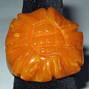 Carved Flower Bakelite Ring
