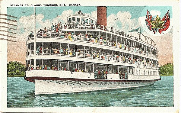 Postcard Of Steamer St Claire Windsor Ontario Canada