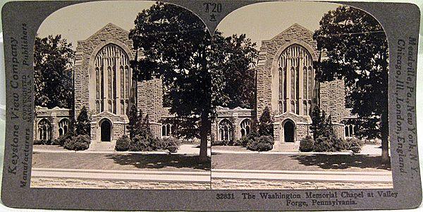 Keystone Stereo View of The Washington Memorial Chapel at Valley Forge Pennsylvania
