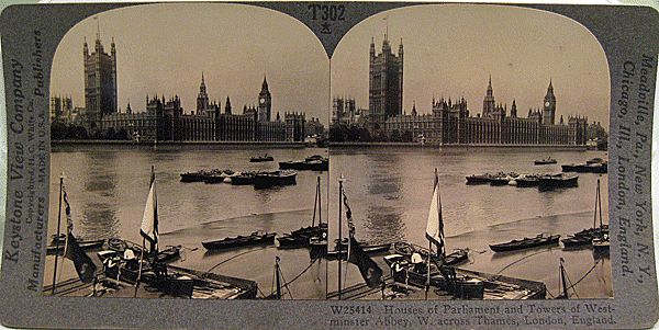 Keystone Stereo View of the Houses of Parliament, Westminster Abby and the Thames in London England