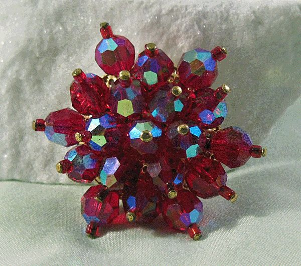 Red Aurora Borealis Crystal Pin