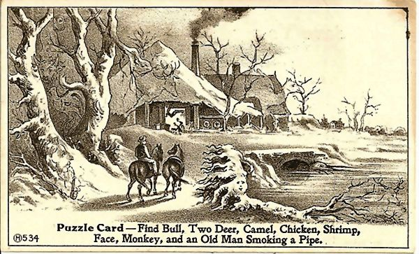 Puzzle Advertising Trade Card Hall's Chill Cure