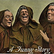 "Postcard of Three Monks Sharing ""A Funny Story"""