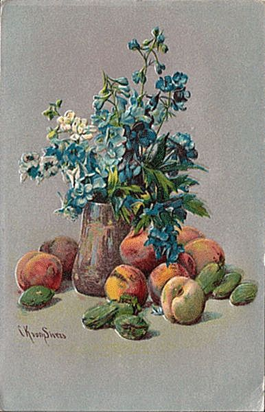 Postcard with Still Life by von Sivers