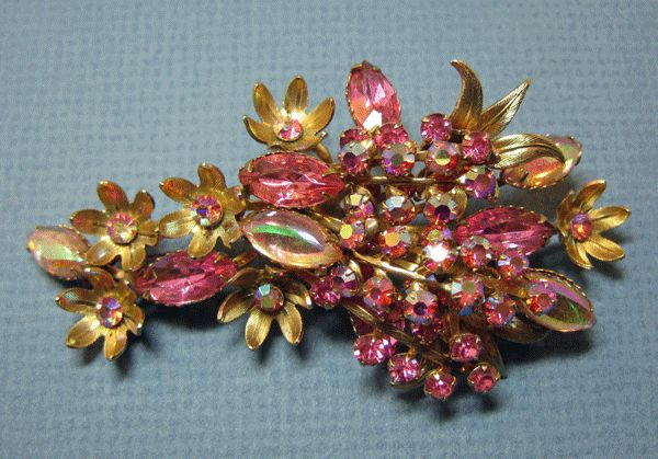 Beautiful Flowing Pink Rhinestone Brooch Pin
