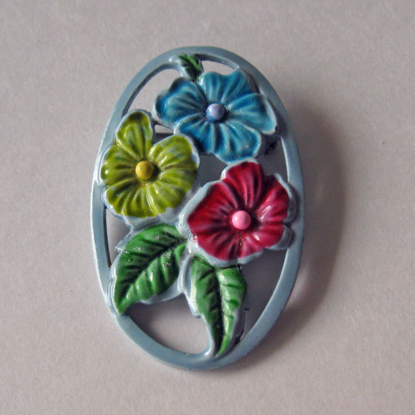 Blue Enamel Pin  or Necklace with Colorful Flowers
